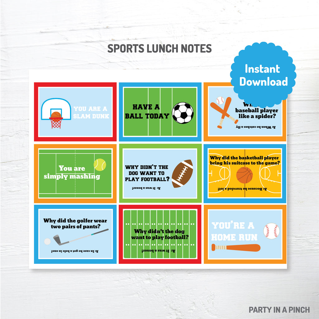 Sports Lunch Box Notes| Instant Download