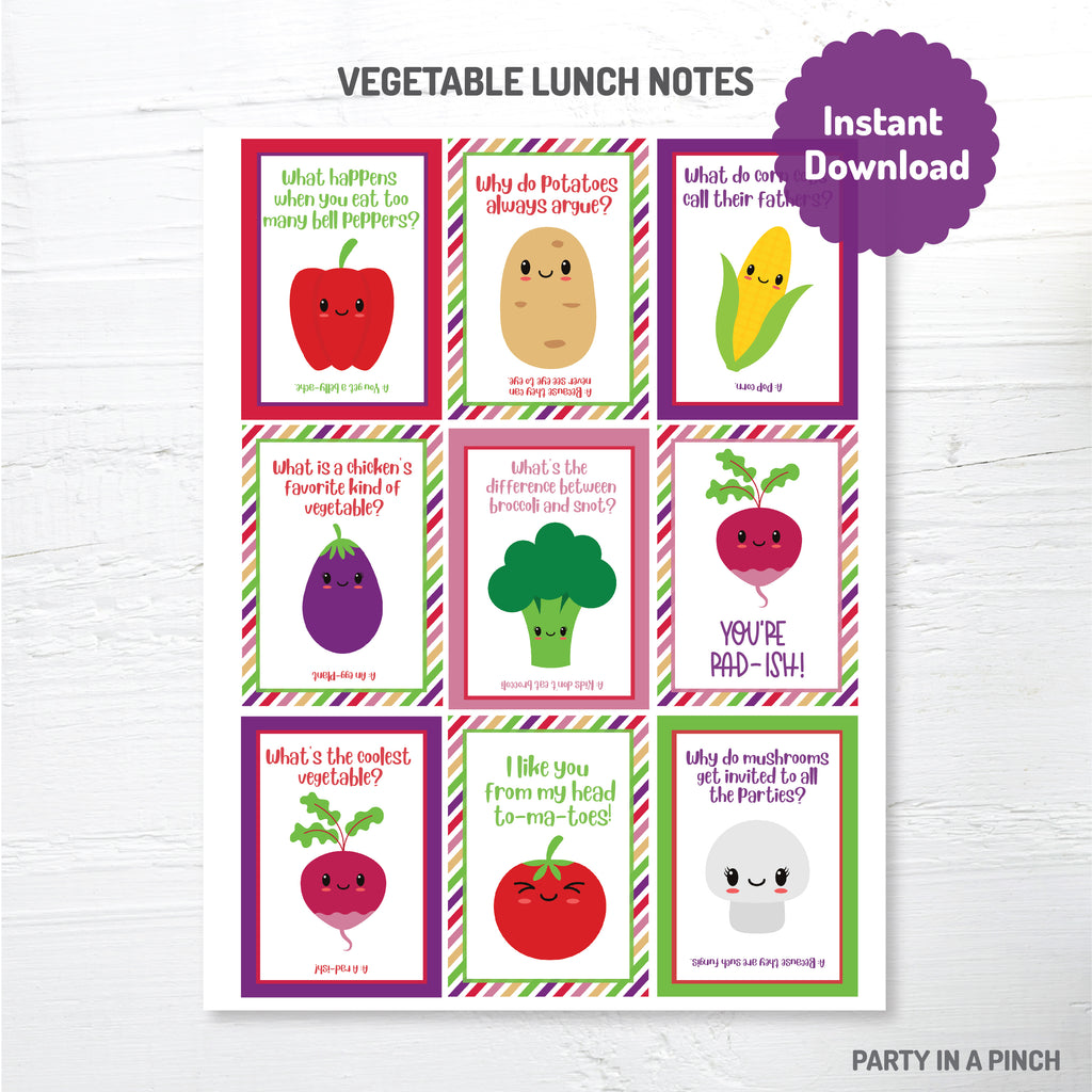 Vegetable Lunch Box Notes| Instant Download