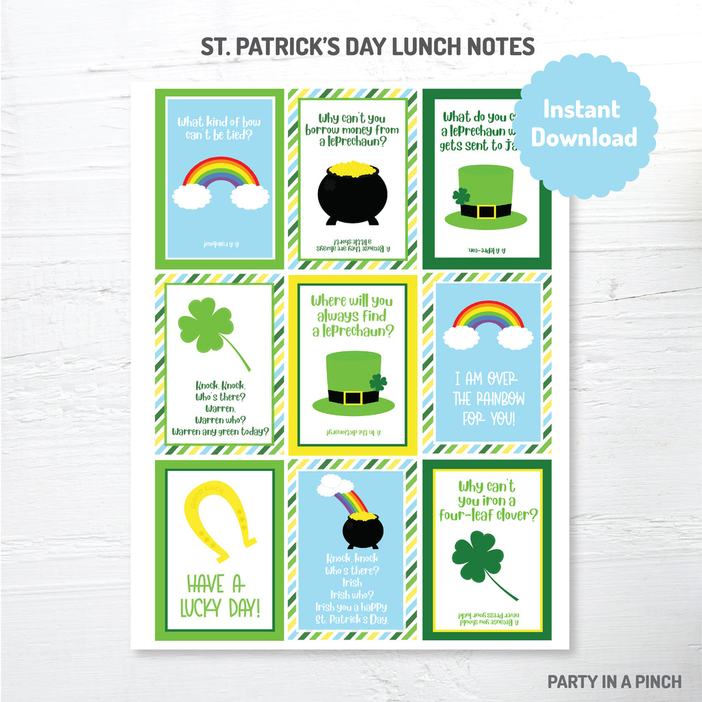 St. Patrick's Day Lunchbox Notes| Instant Download