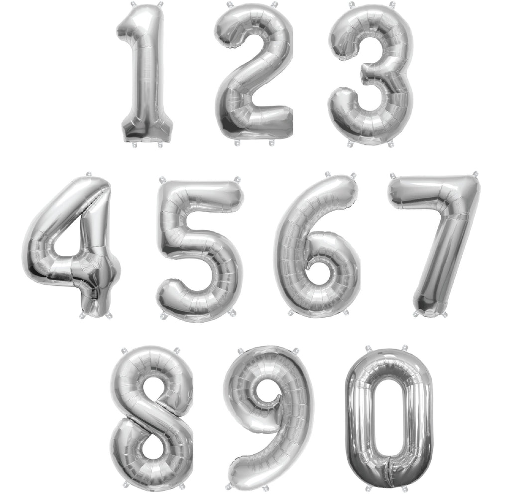 "16"" SIlVER FOIL NUMBER BALLOON"
