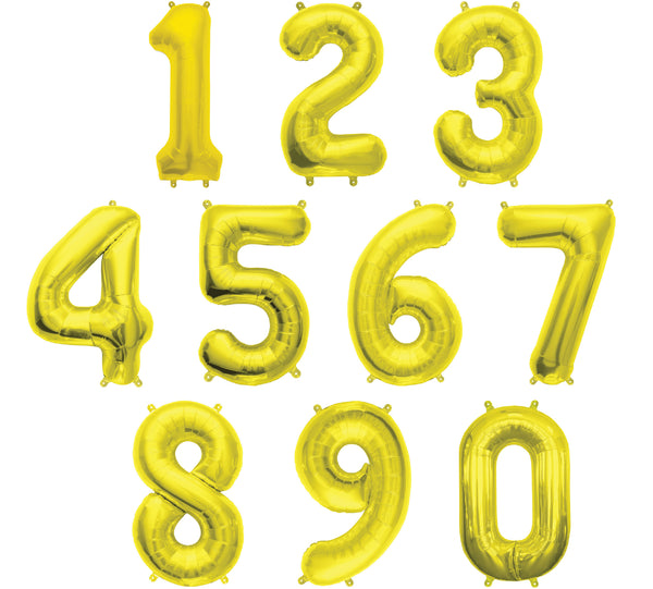 "16"" GOLD FOIL NUMBER BALLOON"