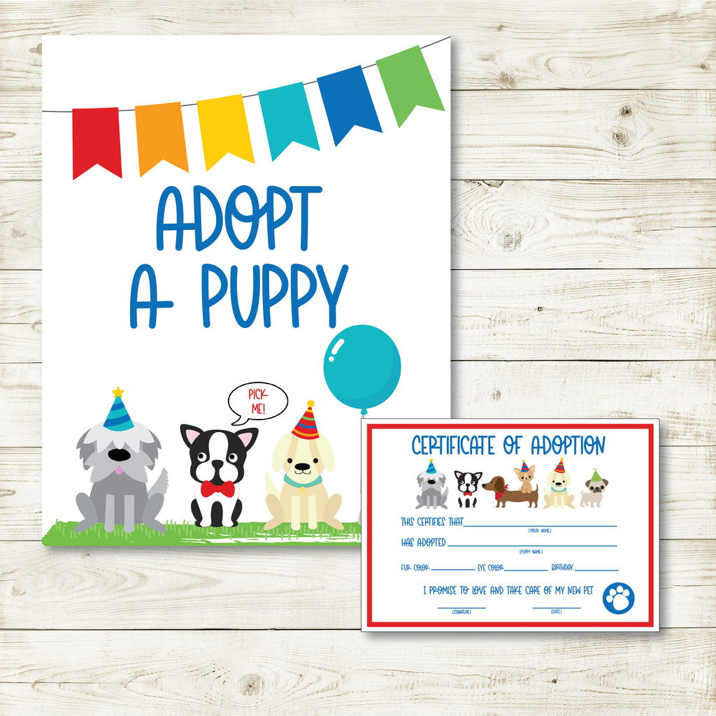 Pet Adoption Certificate And Sign| Puppy Party| Instant Download