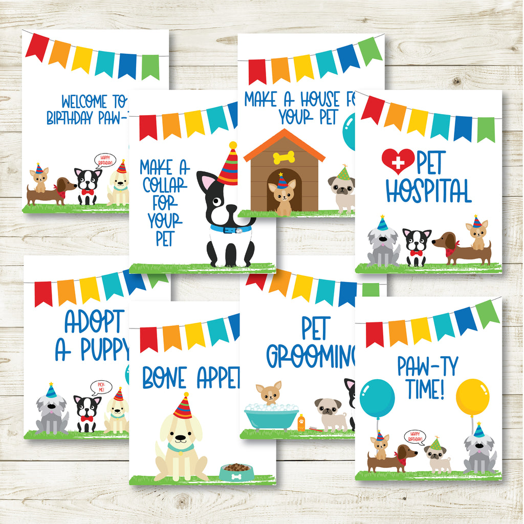 Puppy Party Signs, Set of 8| Puppy Party| Instant Download