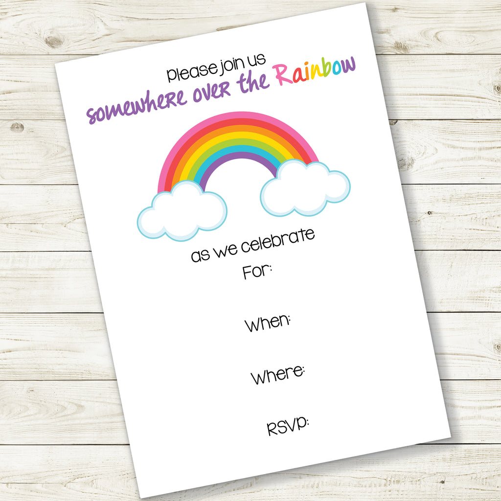 RAINBOW PARTY FILL-IN INVITATION| INSTANT DOWNLOAD
