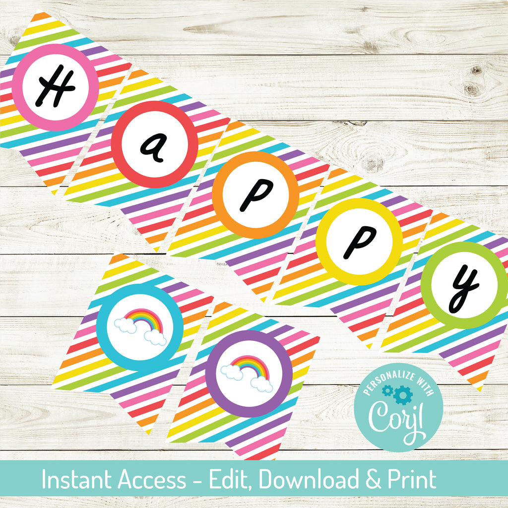 RAINBOW HAPPY BIRTHDAY BANNER| INSTANT DOWNLOAD | EDITABLE