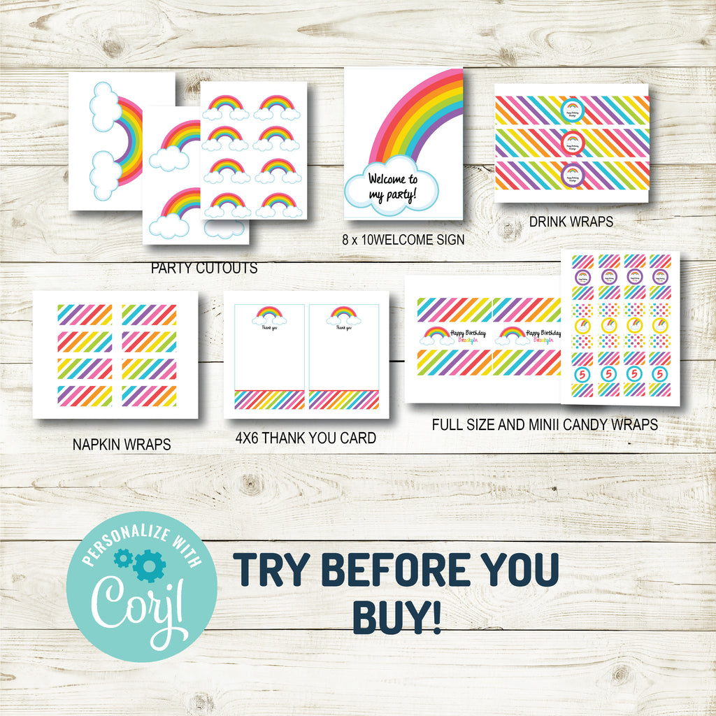 RAINBOW BIRTHDAY PARTY DECORATIONS | INSTANT DOWNLOAD | EDITABLE