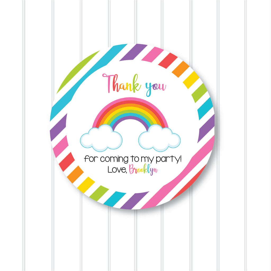 Rainbow Party Favor Stickers 2.5"