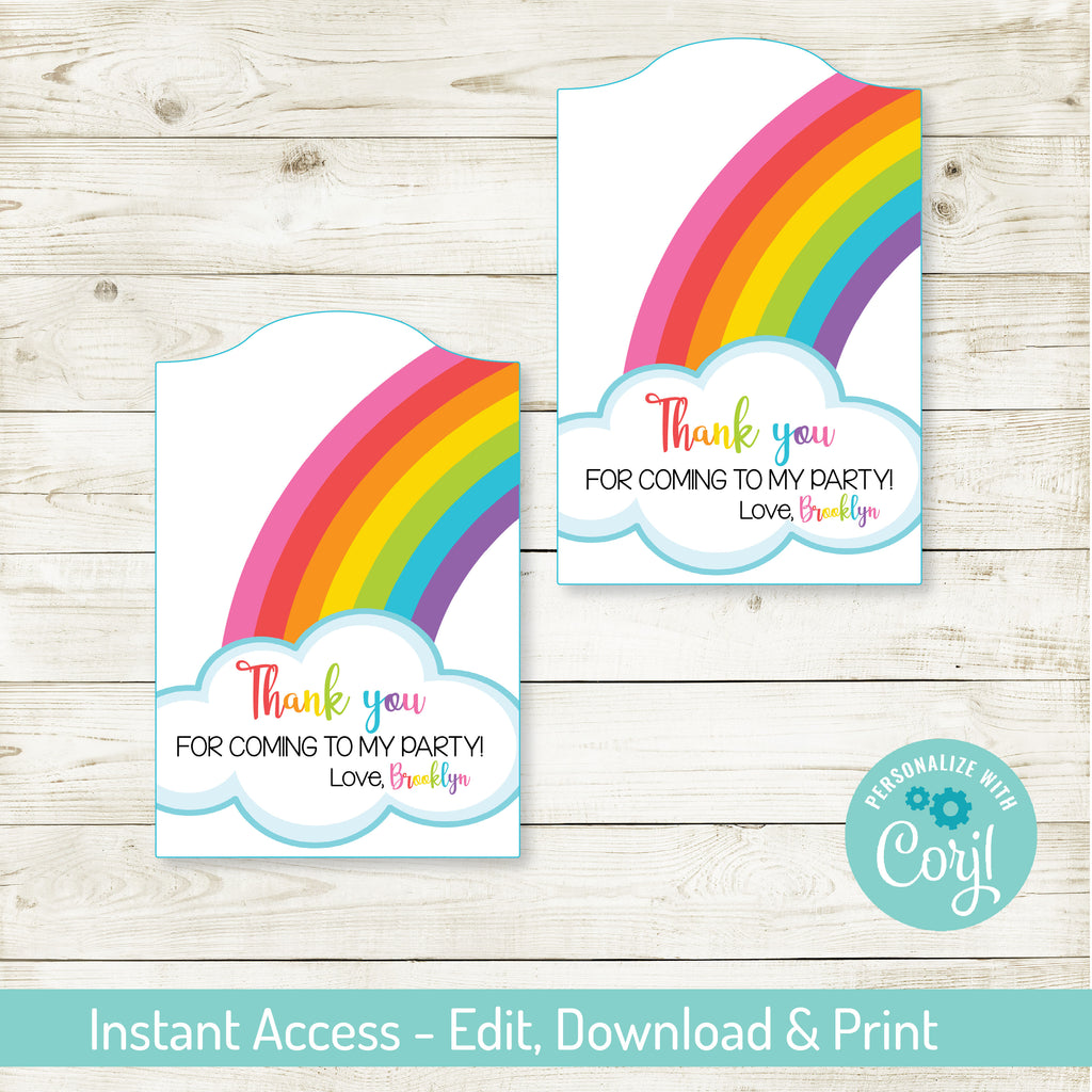 EDITABLE RAINBOW PARTY FAVOR TAGS| RAINBOW PARTY