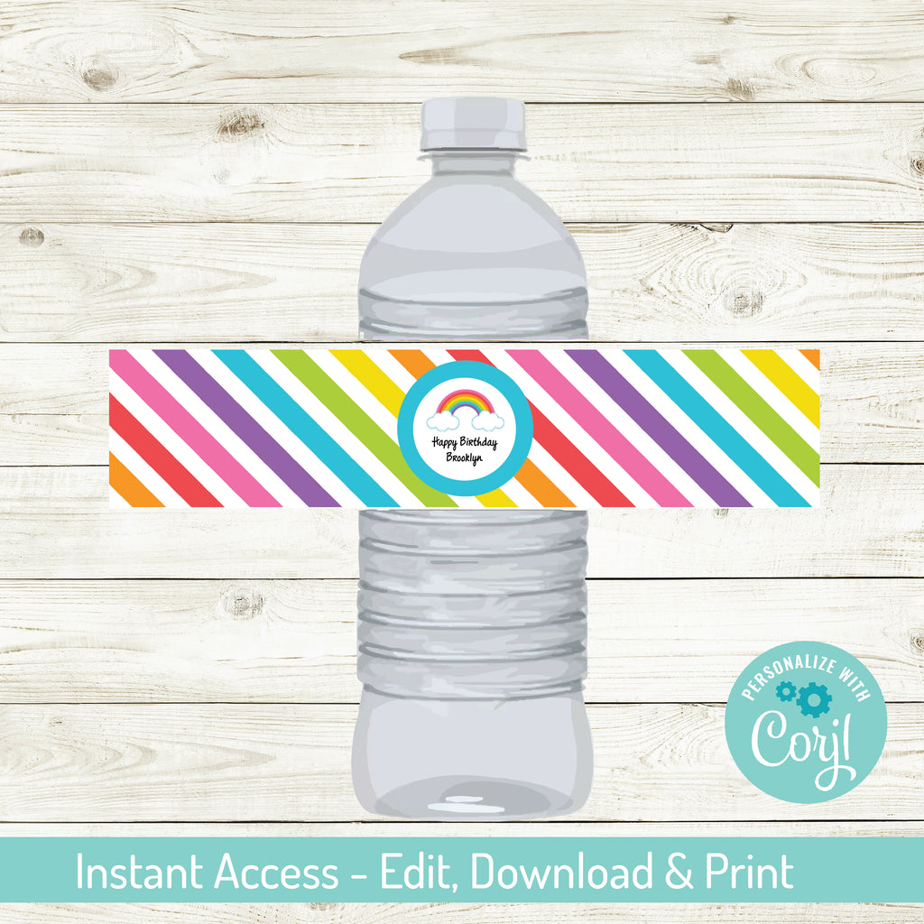 EDITABLE RAINBOW WATER BOTTLE LABELS| RAINBOW PARTY