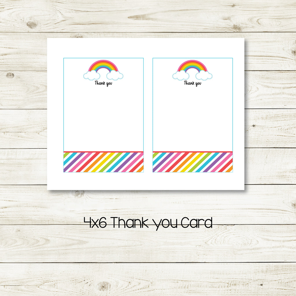 RAINBOW 4X6 THANK YOU CARD| RAINBOW PARTY