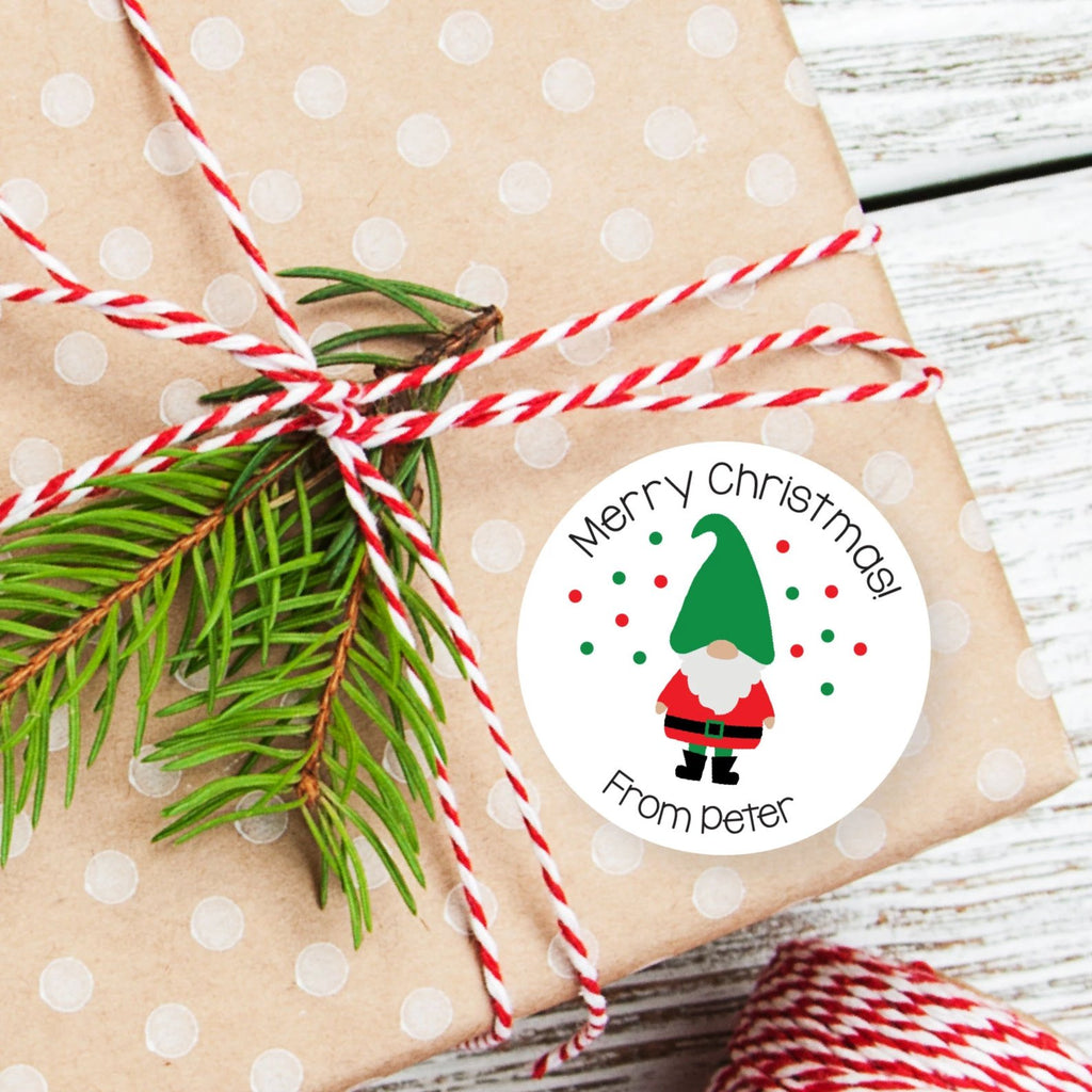 Christmas Gnome Favor Stickers 2.5"