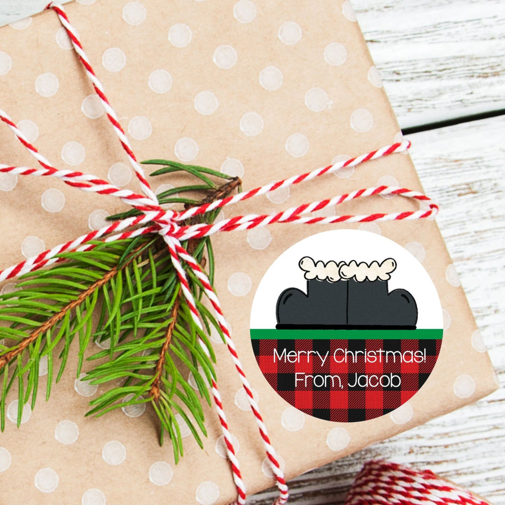 Christmas Santa Boots Favor Stickers 2.5"