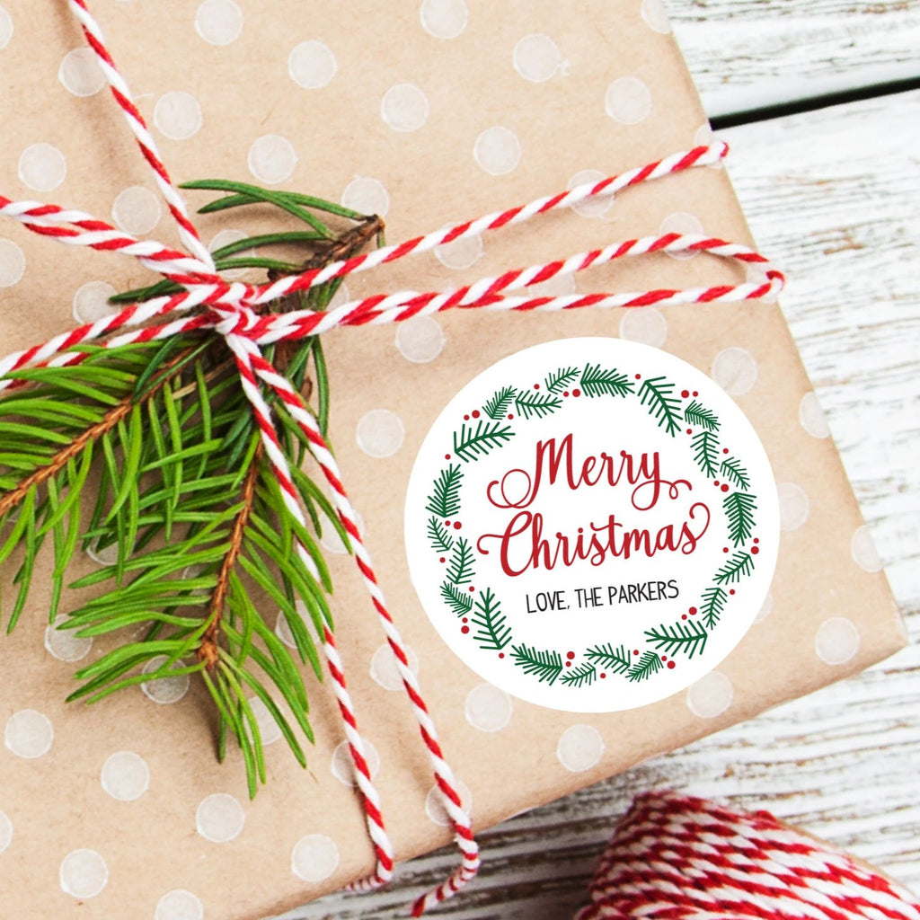 Christmas Wreath Favor Sticker Set 2.5"