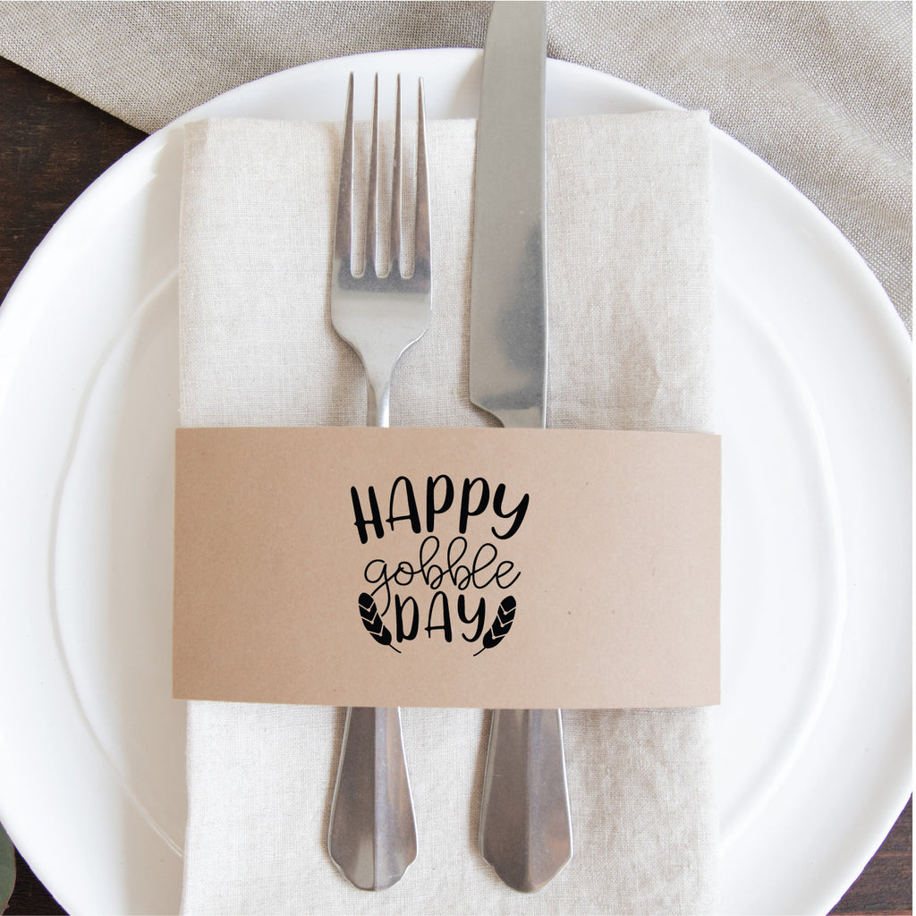 Thanksgiving Napkin Wraps- Happy Gobble Day