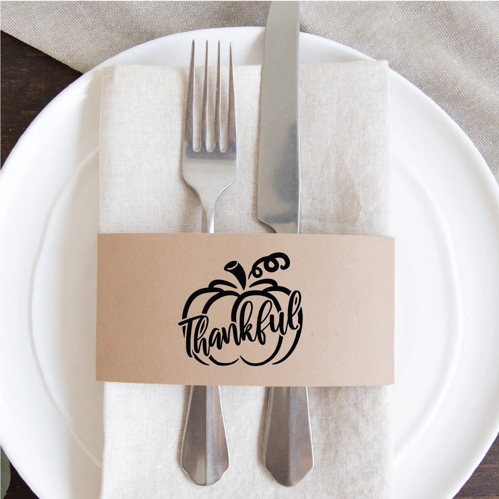 Thanksgiving Napkin Wraps- Thankful (pumpkin)