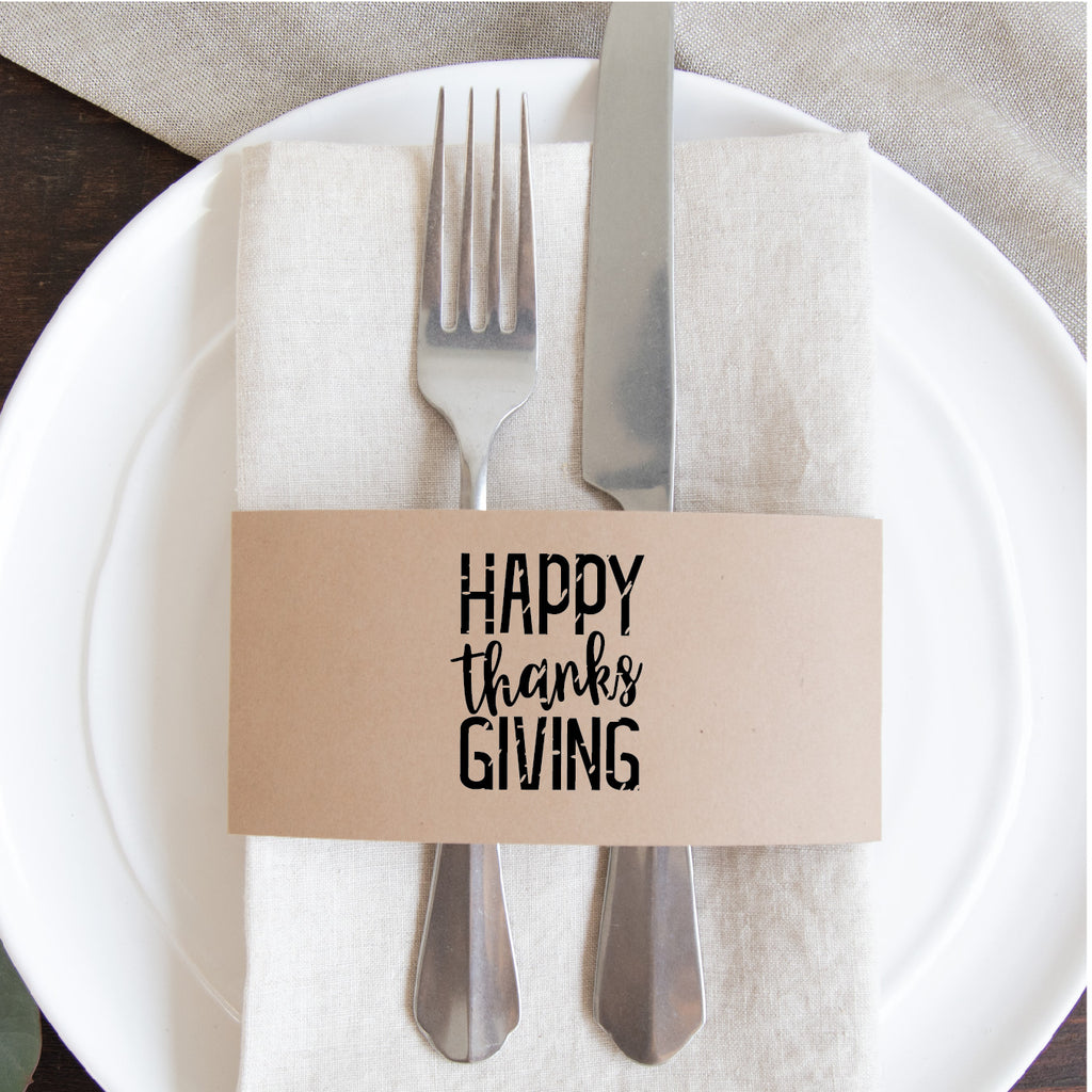 Thanksgiving Napkin Wraps: Happy-Thanks-Giving