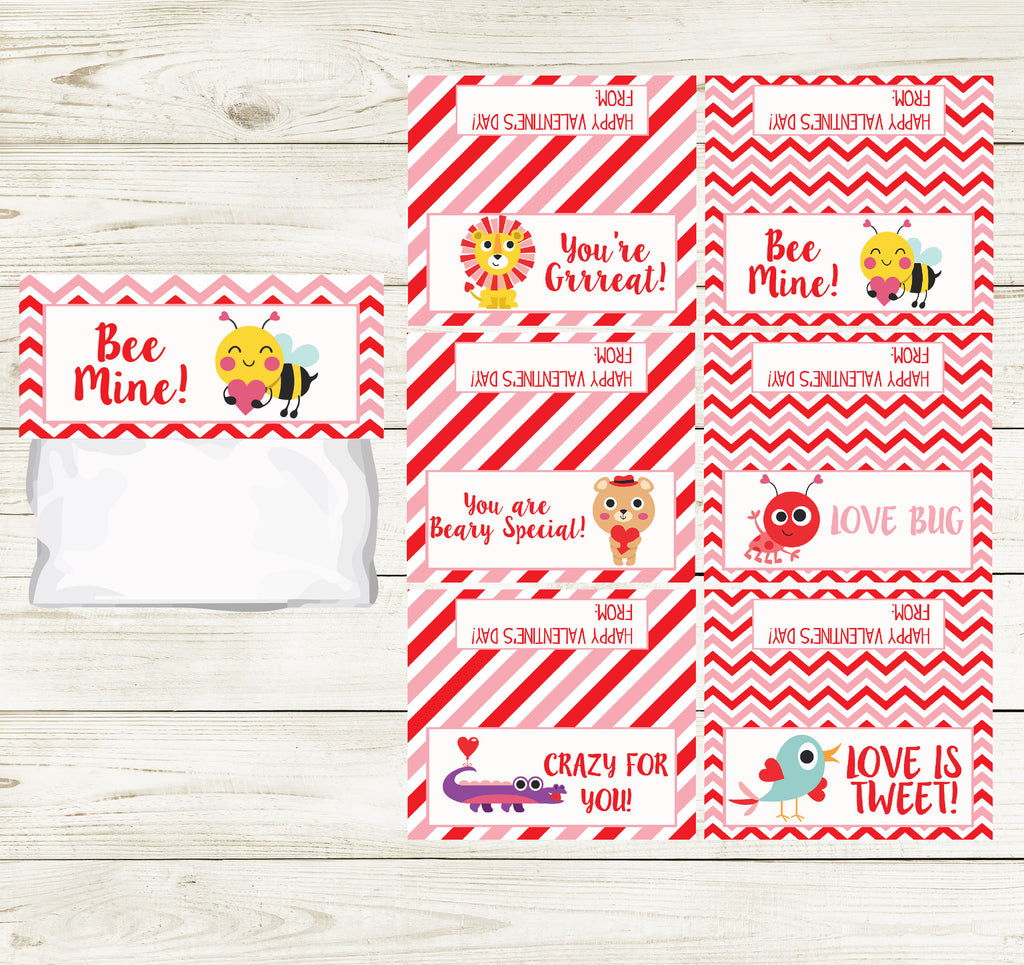 ANIMAL VALENTINE'S DAY PRINTABLE TREAT BAG TOPS