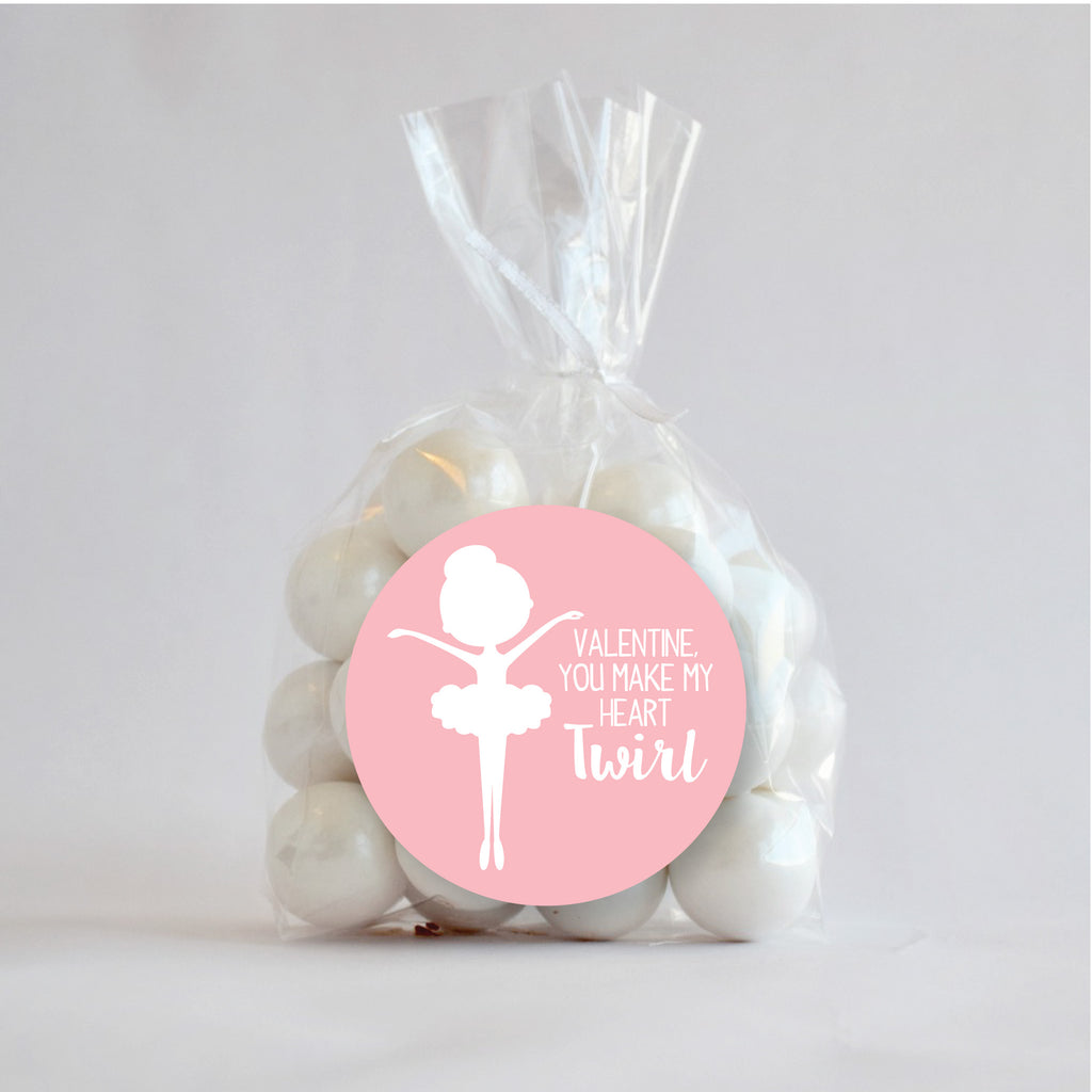 Ballerina Valentine's Day Favor Stickers 2.5"