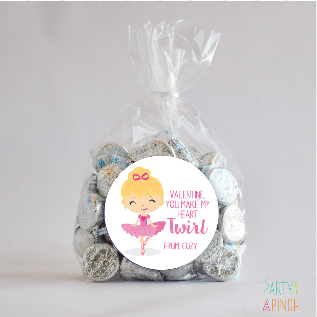 Ballerina Blonde Valentine's Day Favor Stickers 2.5"