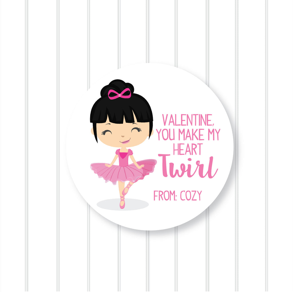 Ballerina 4 Valentine's Day Favor Stickers 2.5"