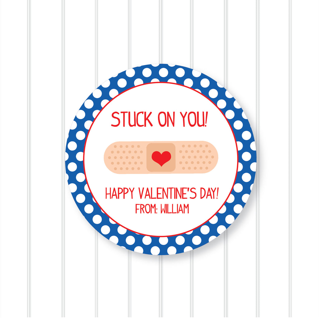 Band-Aid Blue Valentine's Day Favor Stickers 2.5"