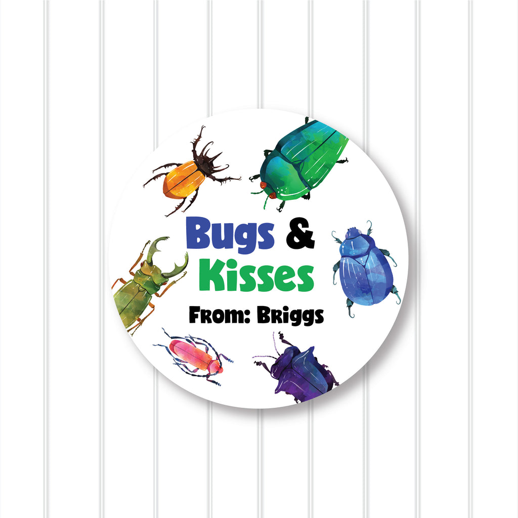 """Bugs and Kisses"" Valentine's Day Favor Stickers 2.5""