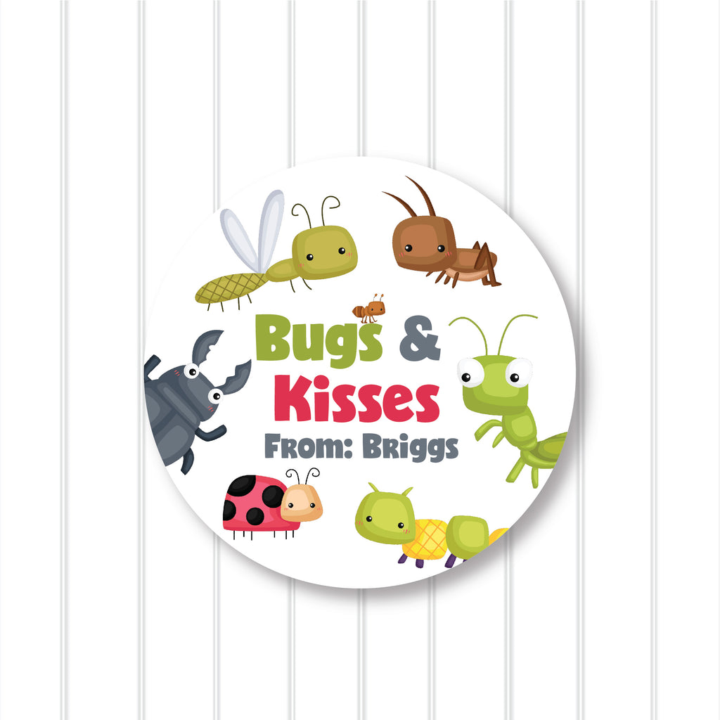 """Bugs and Kisses 2"" Valentine's Day Favor Stickers 2.5""