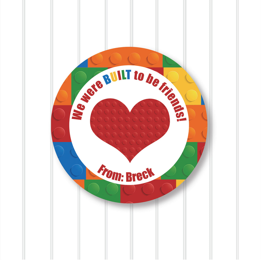 Building Block Valentine's Day Favor Stickers 2.5"