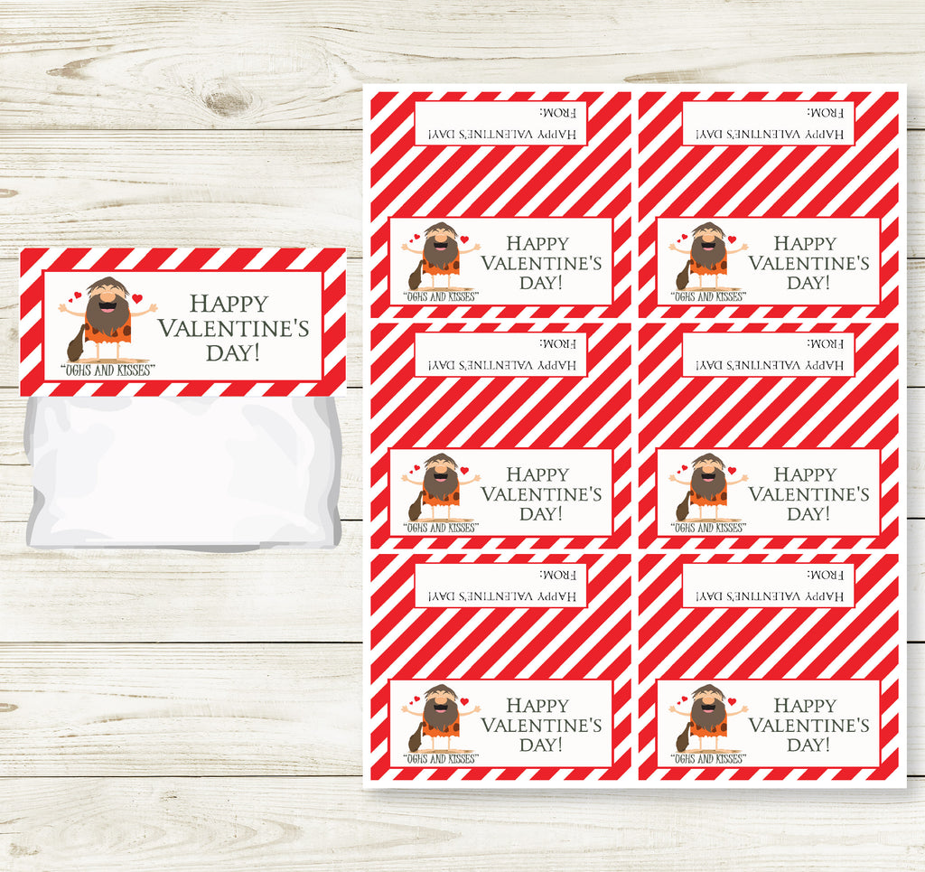 CAVEMAN VALENTINE'S DAY PRINTABLE TREAT BAG TOPS