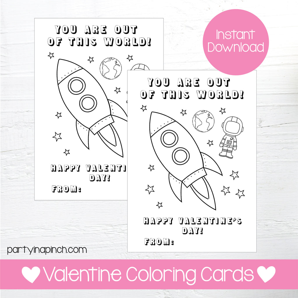 ROCKET VALENTINE'S DAY COLORING CARDS| Instant Download