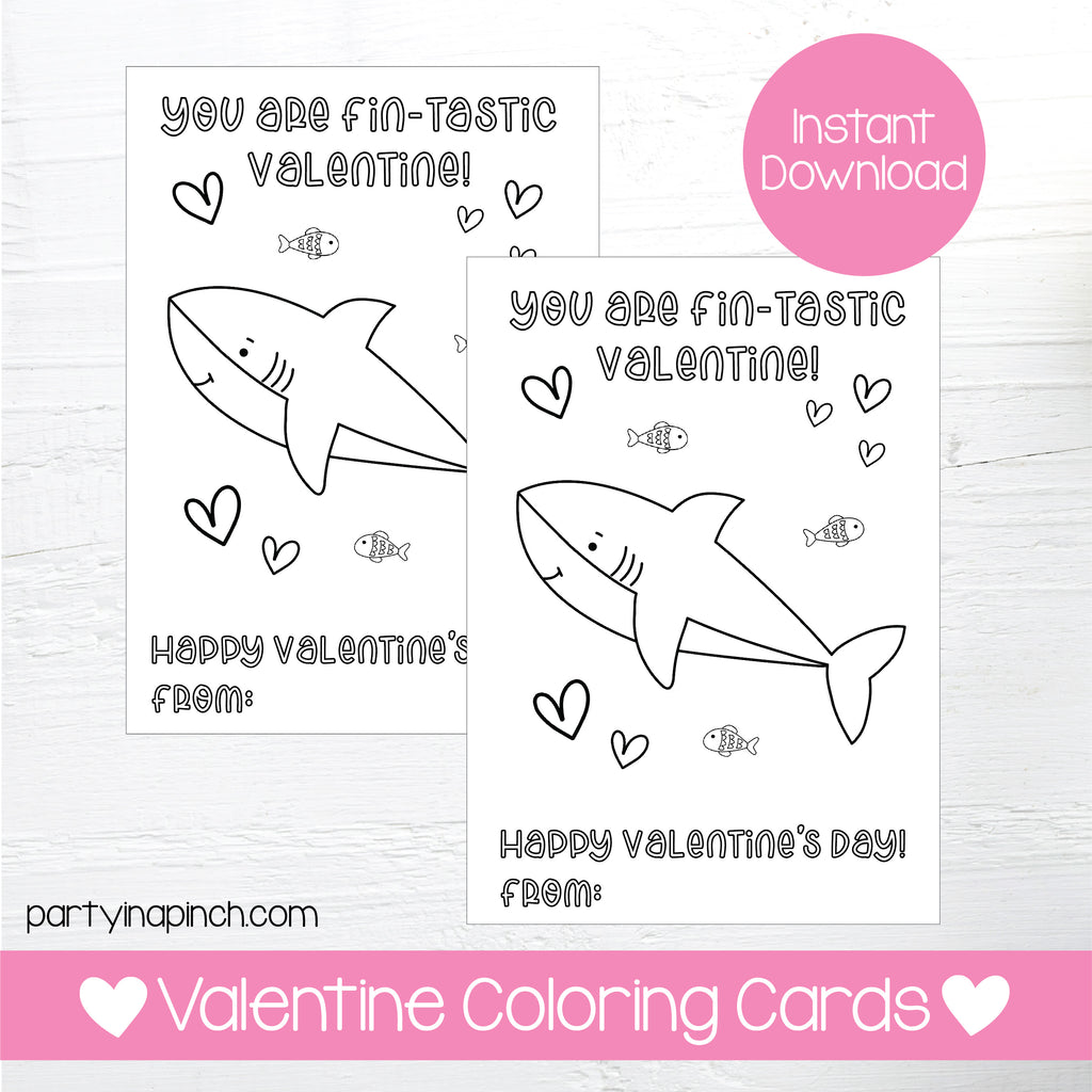 SHARK VALENTINE'S DAY COLORING CARDS| Instant Download