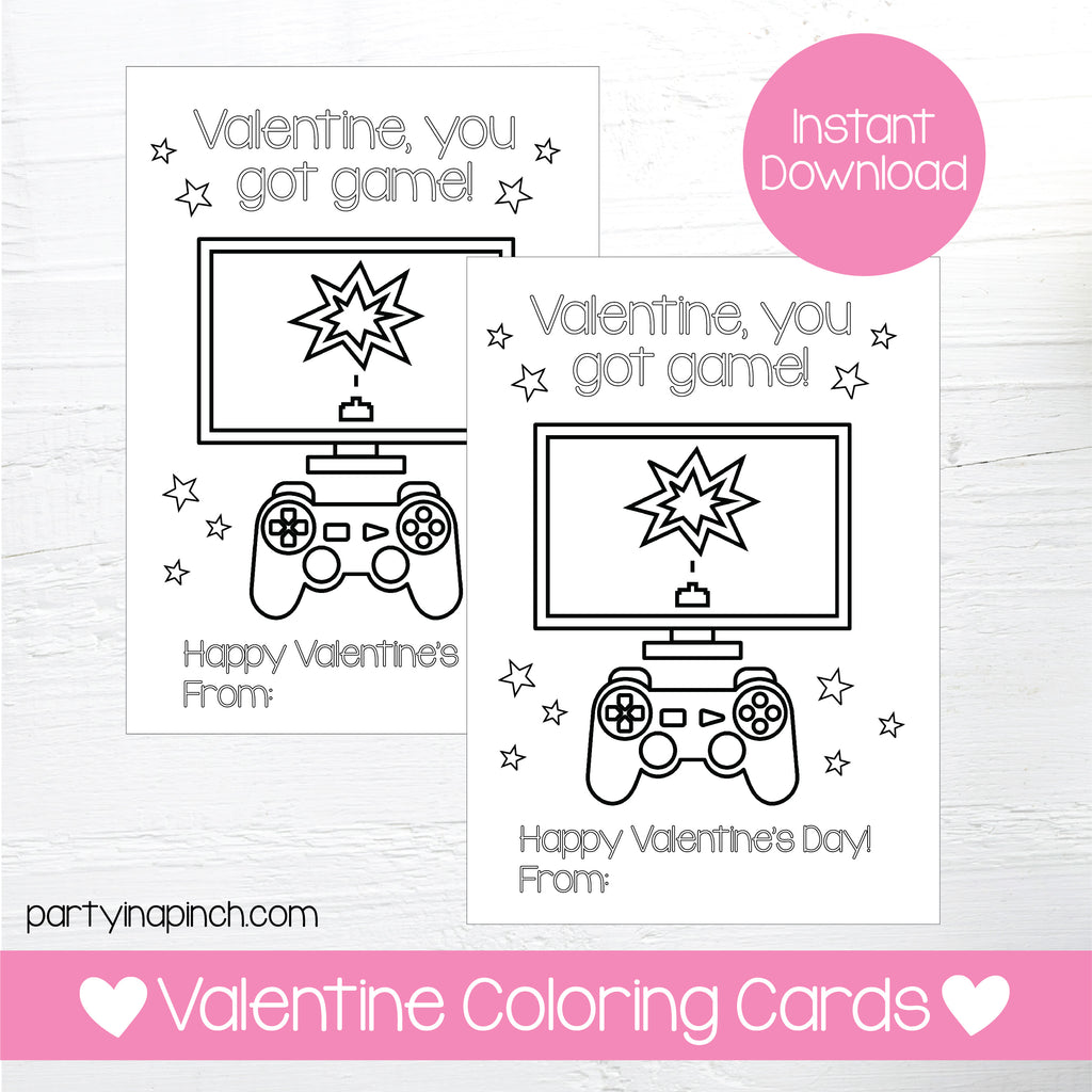 GAMING VALENTINE'S DAY COLORING CARDS| Instant Download