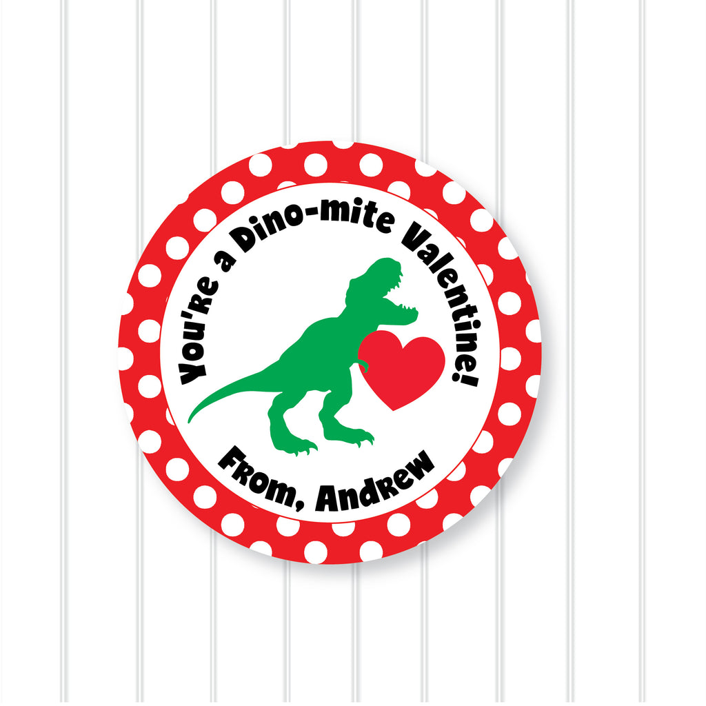 Dinosaur Valentine's Day Favor Stickers 2.5"