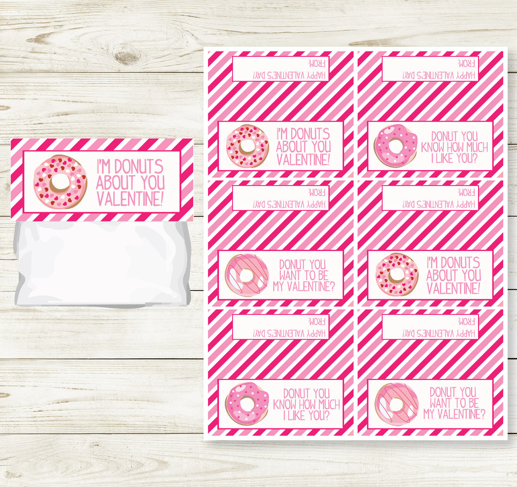 DONUT VALENTINE'S DAY PRINTABLE TREAT BAG TOPS