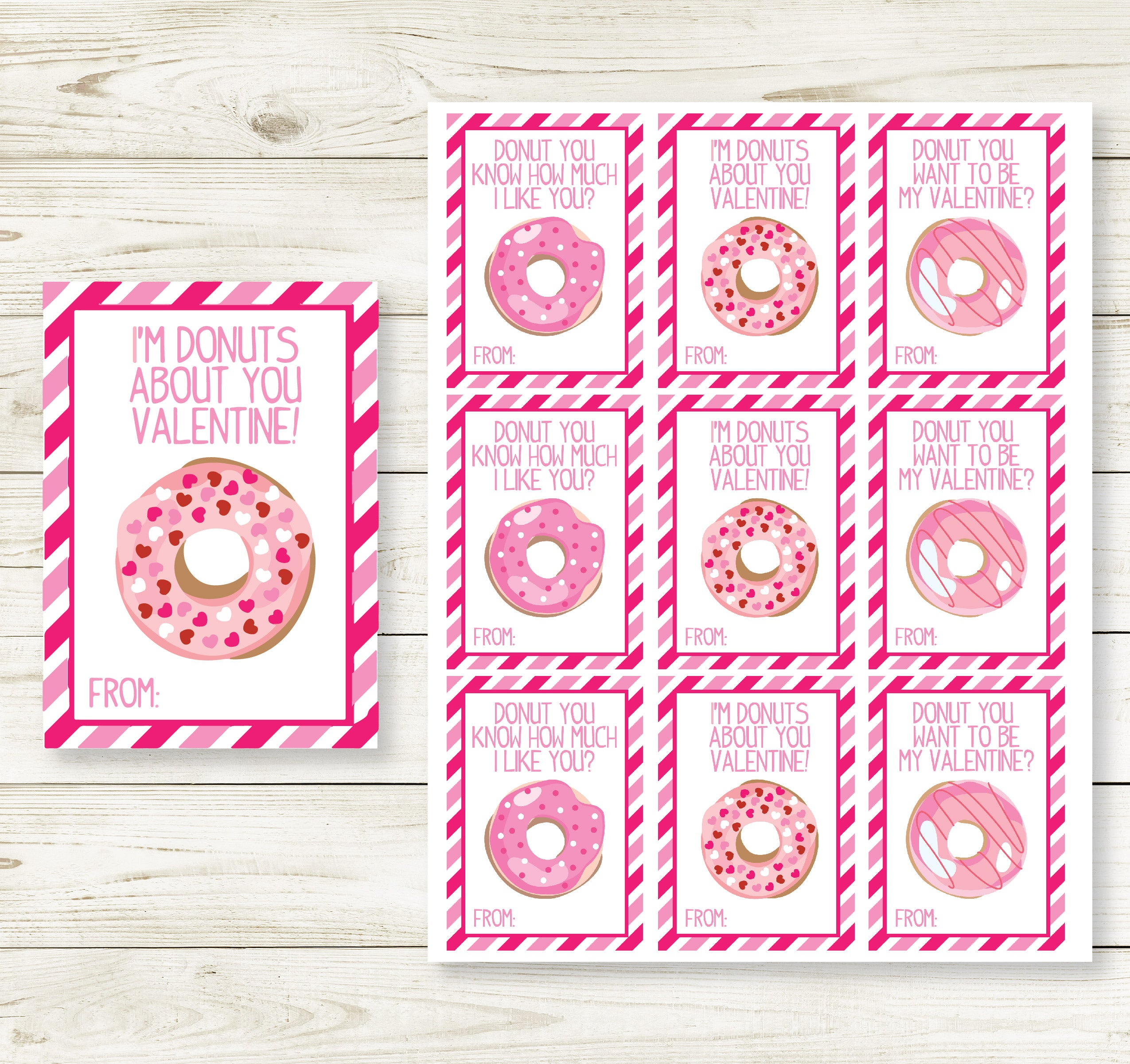picture relating to Donut Valentine Printable known as DONUT Appreciate VALENTINES Working day PRINTABLE Playing cards
