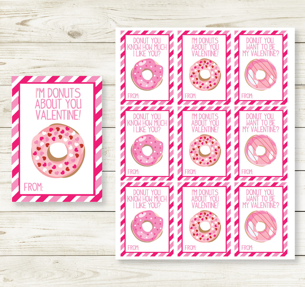 DONUT LOVE VALENTINE'S DAY PRINTABLE CARDS