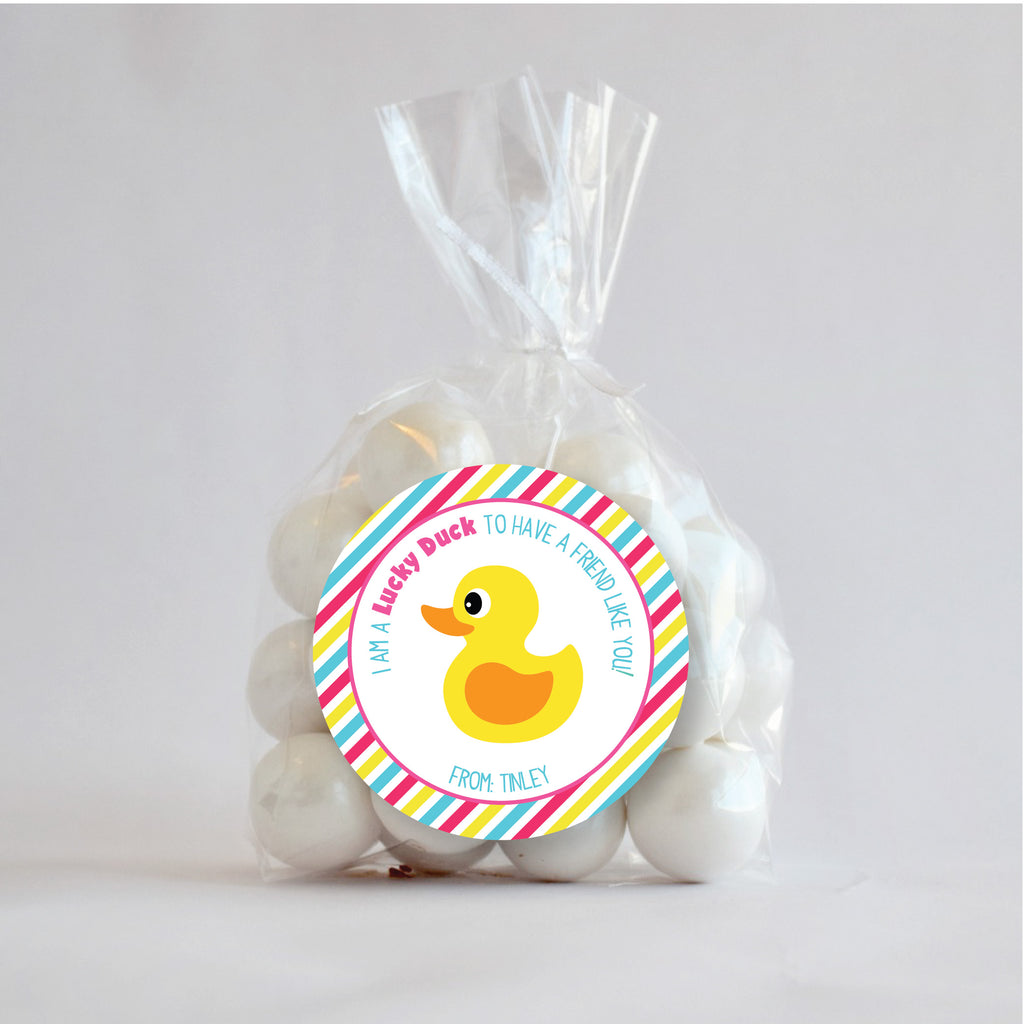 Lucky Duck Valentine's Day Favor Stickers 2.5"