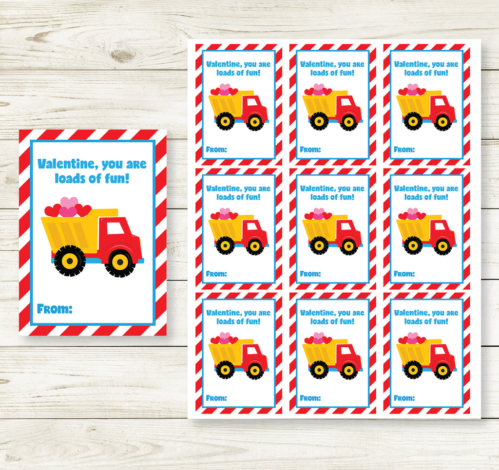 DUMP TRUCK VALENTINE'S DAY PRINTABLE CARDS