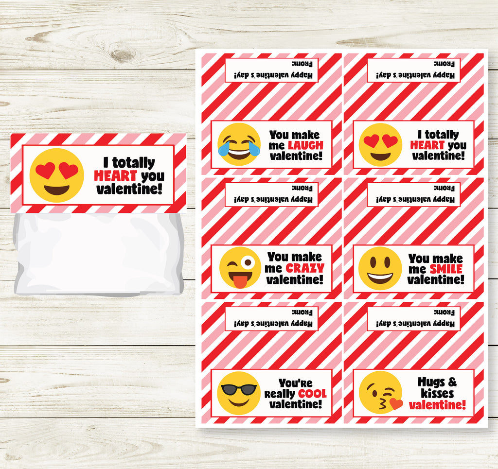 EMOJI VALENTINE'S DAY PRINTABLE TREAT BAG TOPS