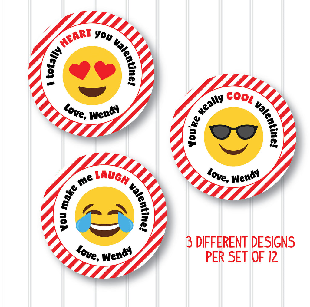Valentine's Day Emoji Favor Stickers 2.5"