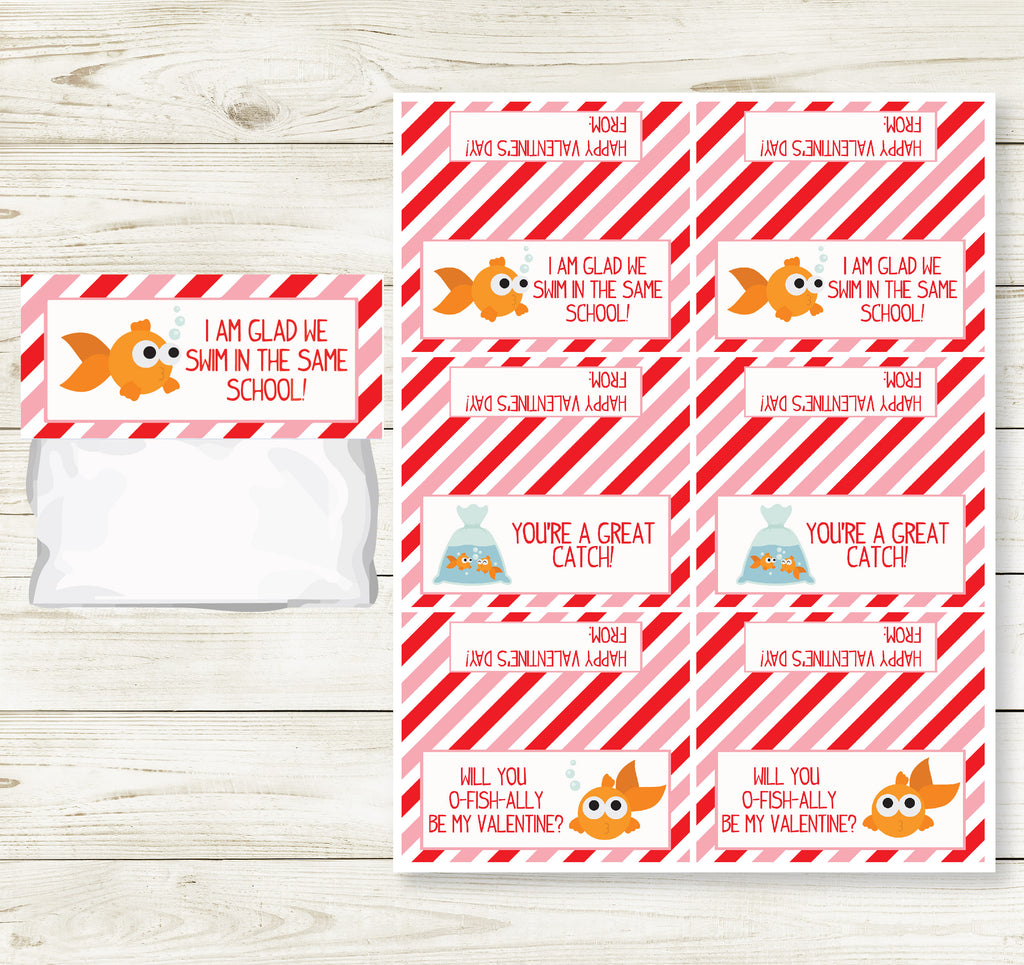 GOLDFISH VALENTINE'S DAY PRINTABLE TREAT BAG TOPS