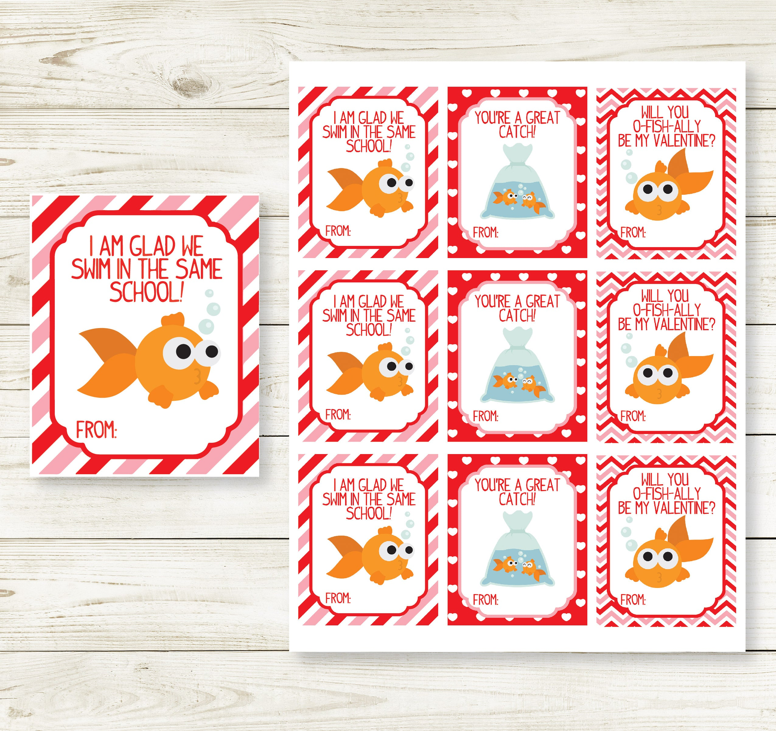 This is a picture of Nifty Goldfish Valentine Printable
