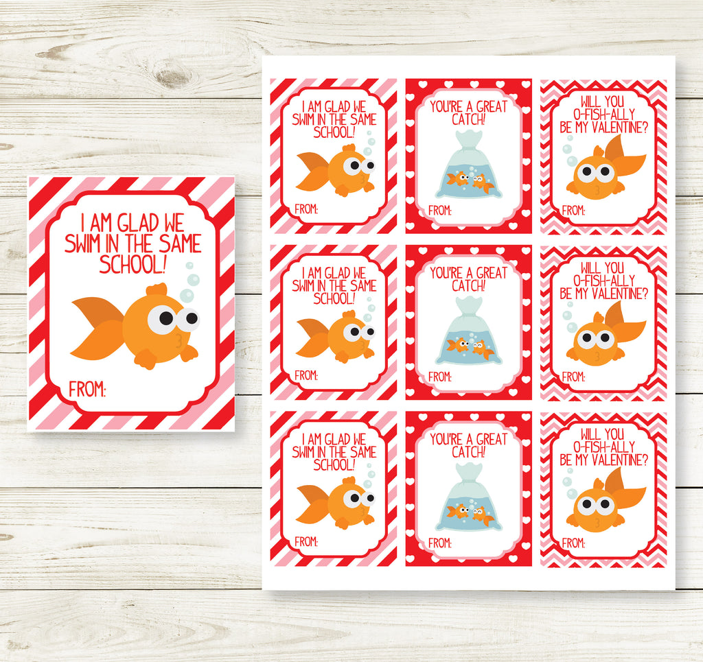 GOLDFISH VALENTINE'S DAY PRINTABLE CARDS