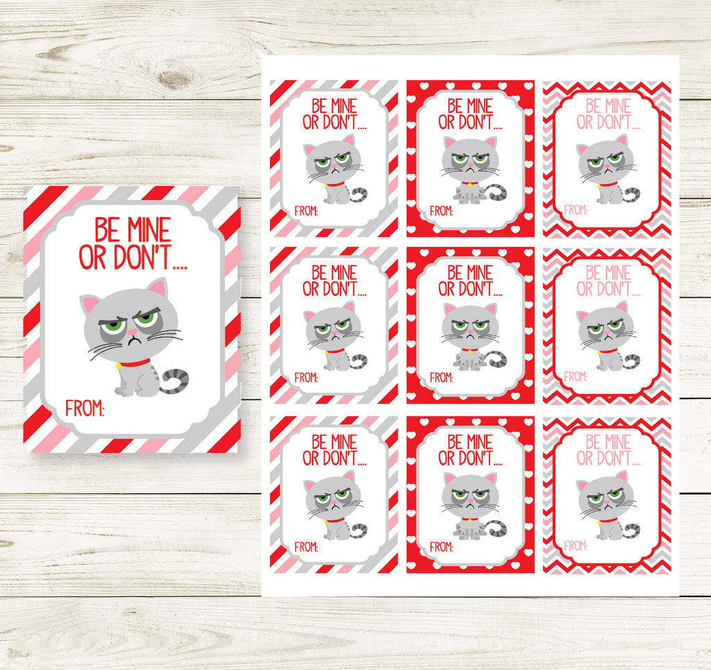 GRUMPY CAT VALENTINE'S DAY PRINTABLE CARDS