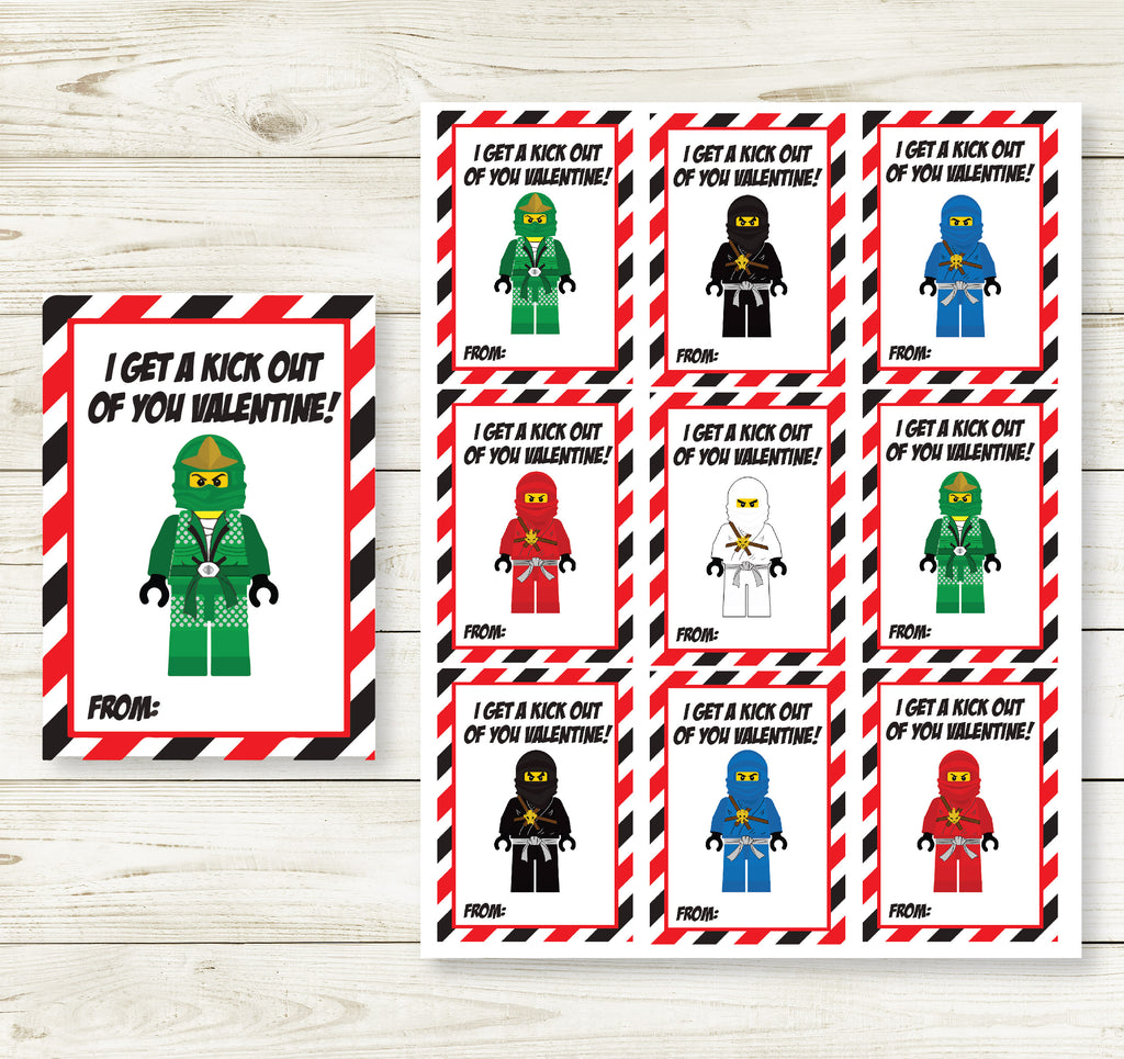 LEGO NINJA VALENTINE'S DAY PRINTABLE CARDS