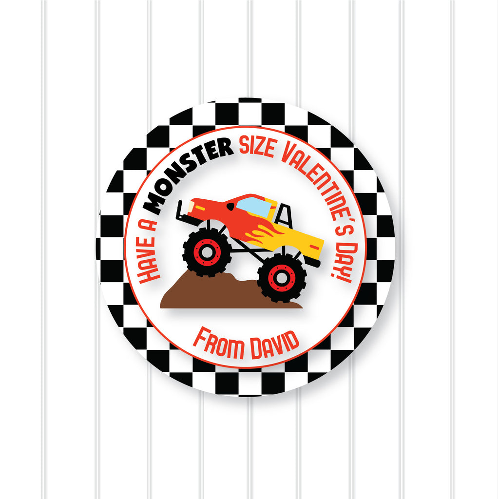 Monster Truck Valentine's Day Favor Sticker Set 2.5"