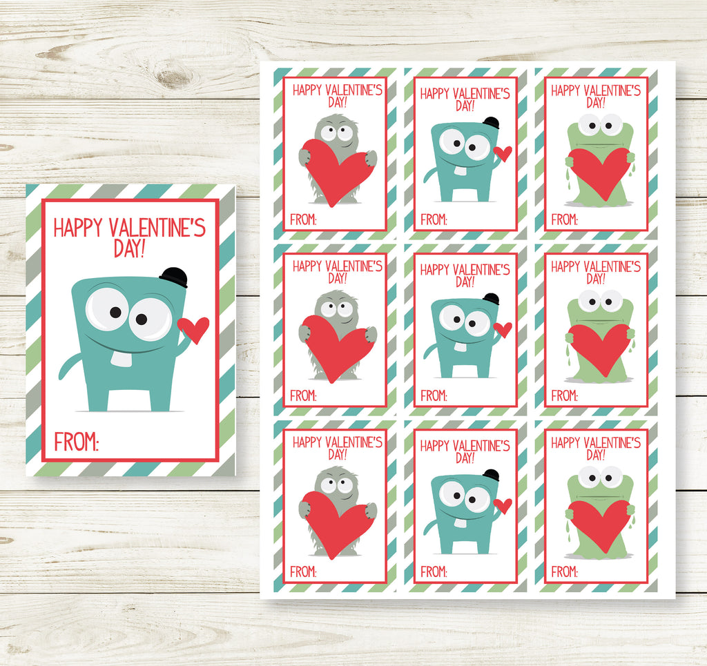 MONSTER VALENTINE'S DAY PRINTABLE CARDS