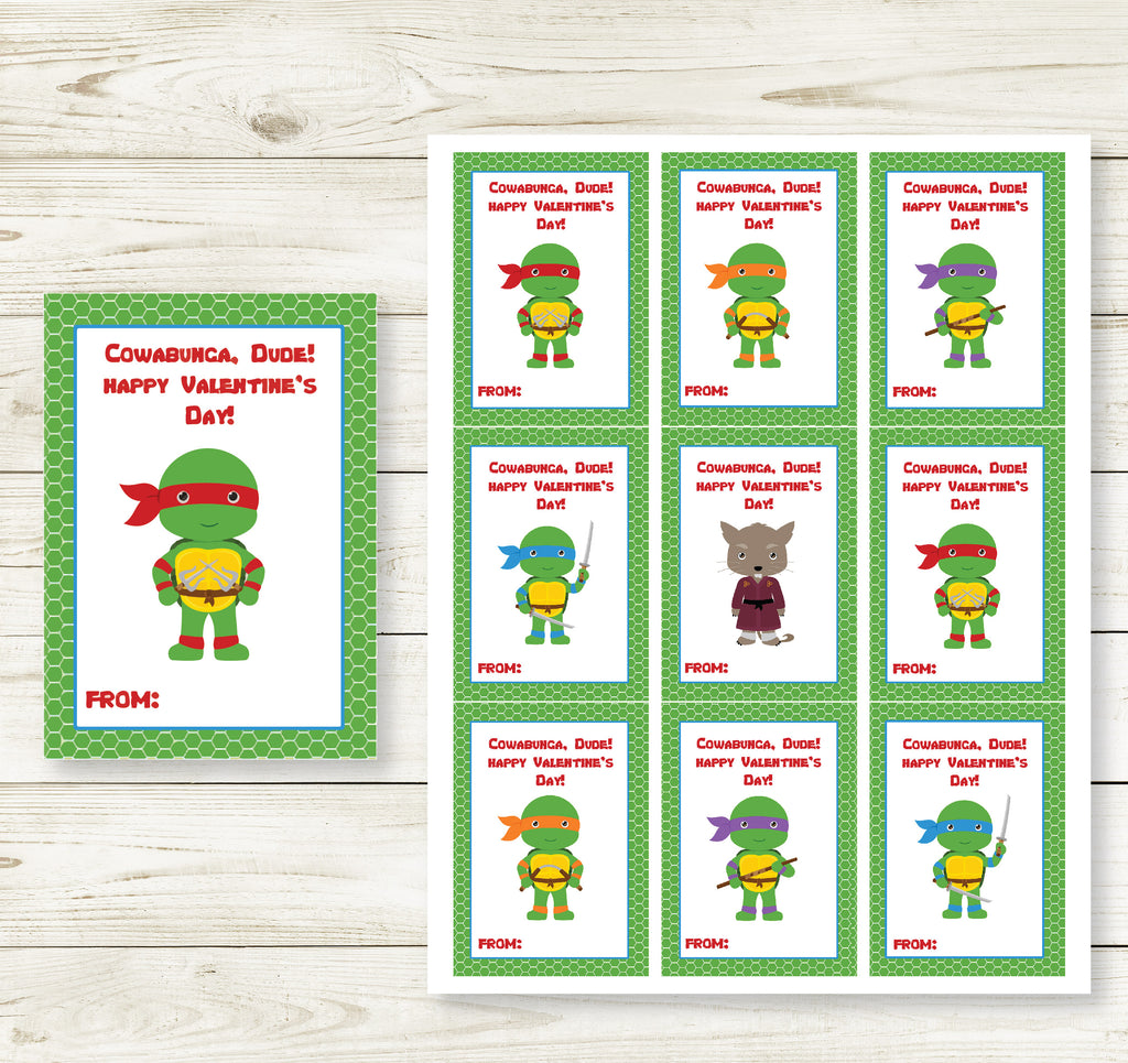 NINJA TURTLE VALENTINE'S DAY PRINTABLE CARDS