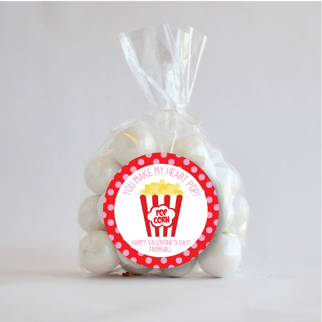 "Popcorn ""You make my heart Pop"" Valentine's Day Favor Stickers 2.5""