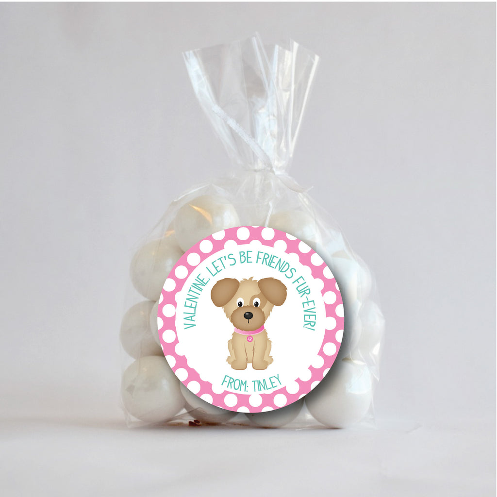 Fur-ever Dog Valentine's Day Favor Stickers 2.5"